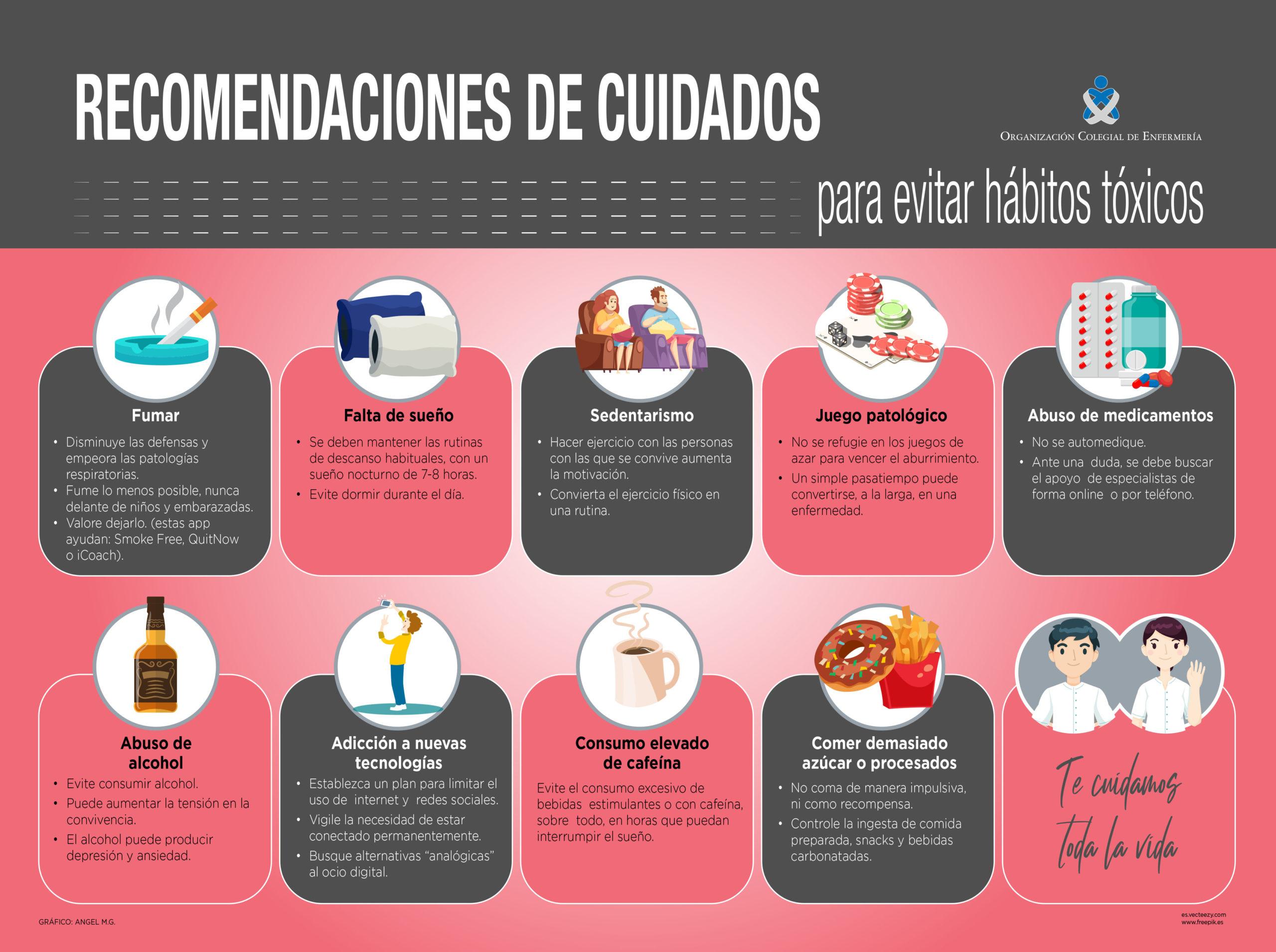 Infografía para evitar hábitos tóxicos.